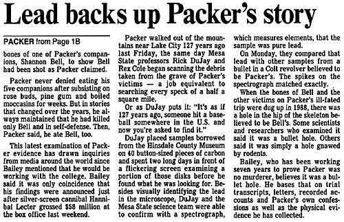 Lead backs up Alferd Packer's Story